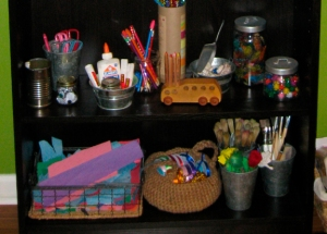 kid's art supplies organization